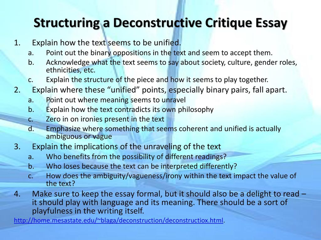 features of deconstruction