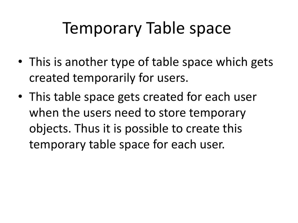 Table spaces  - ppt download