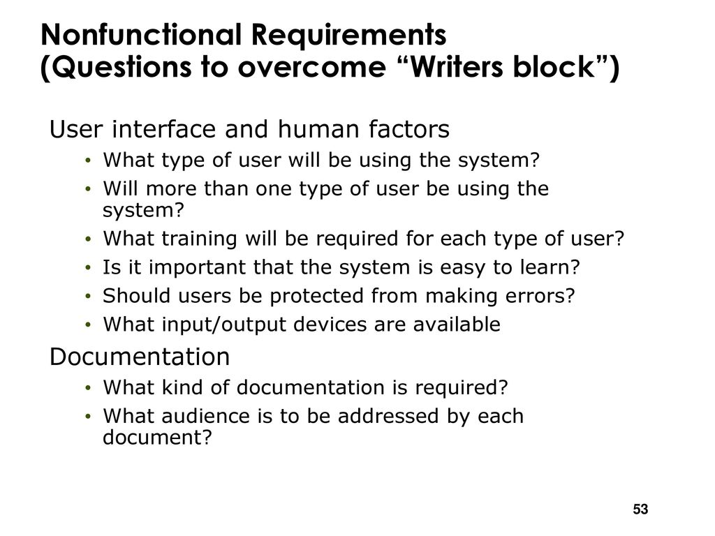 non functional requirements questions
