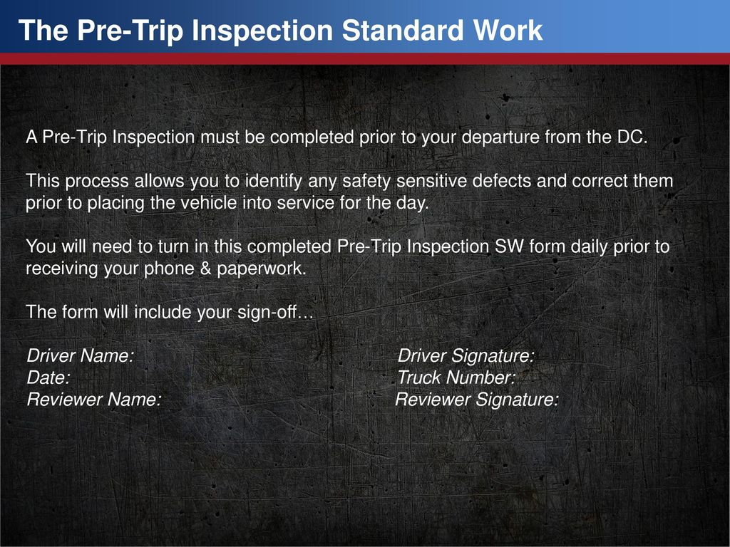 pre trip inspection (delivery) standard work - ppt download