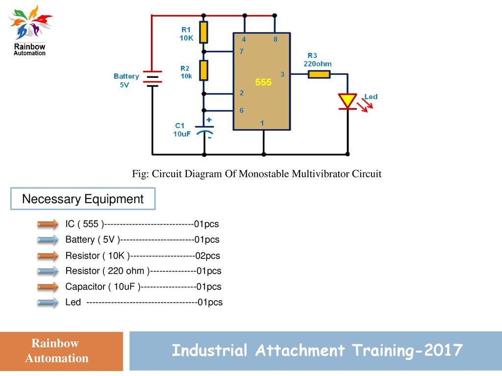 Circuit Simulation Training Ppt Download Ic 555 Pin Diagram 15 Industrial Attachment 2017 Fig Of Monostable Multivibrator Necessary Equipment