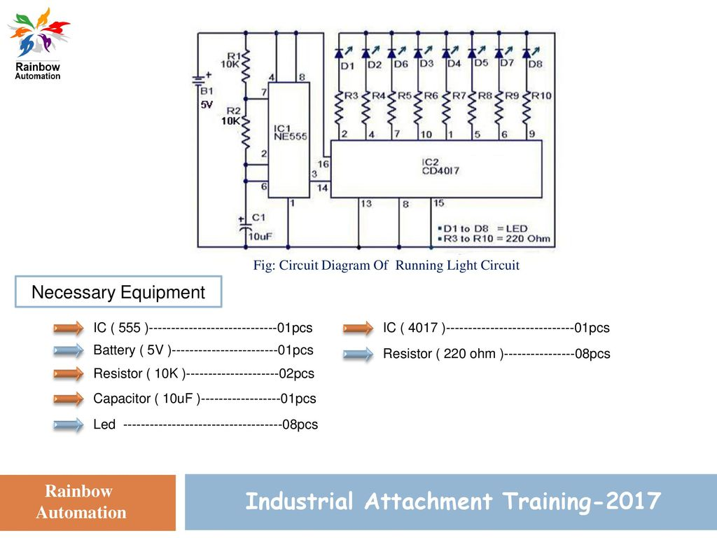 Circuit Simulation Training Ppt Download Two Way 12 Led Running Lights Using Cd4017 And Ne555 17 Industrial Attachment