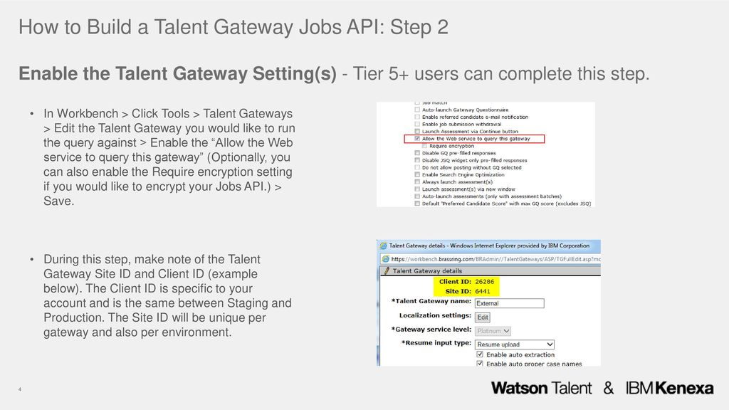 IBM Kenexa BrassRing on Cloud Talent Gateway Jobs API - ppt