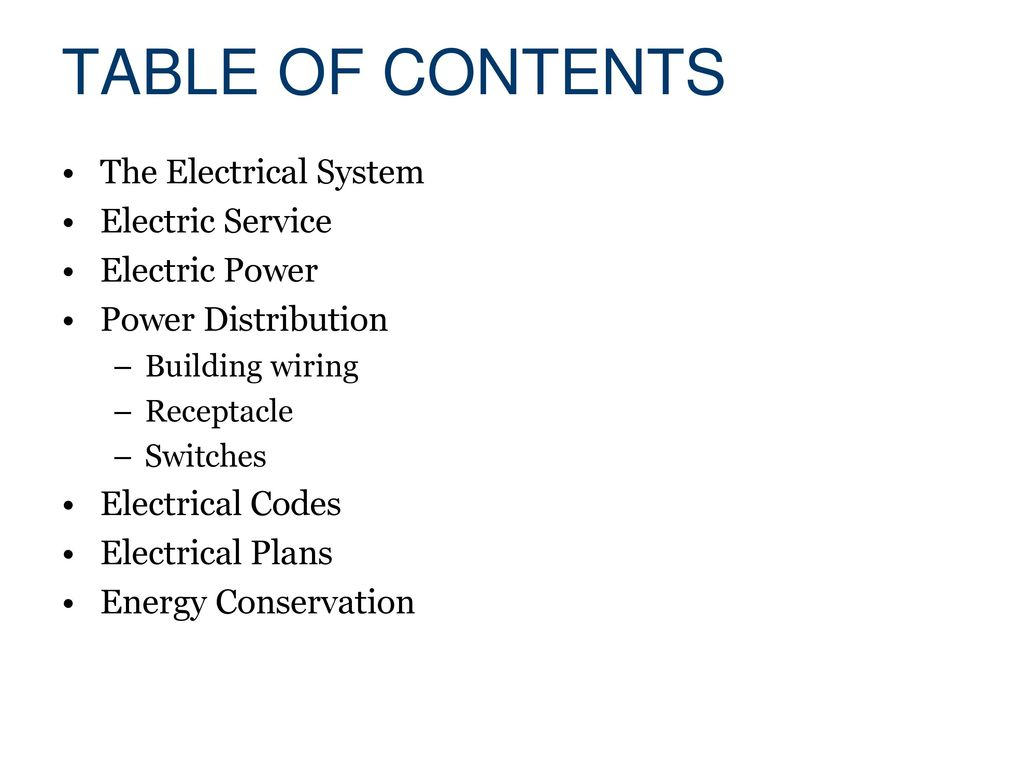 Wiring Ppt Templates Electrical Powerpoint Template Systems Civil Engineering And Architecture Download Table Of Contents The System Electric Service