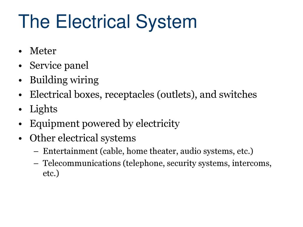 Electrical Systems Civil Engineering And Architecture Ppt Download Home Wiring The System Meter Service Panel Building