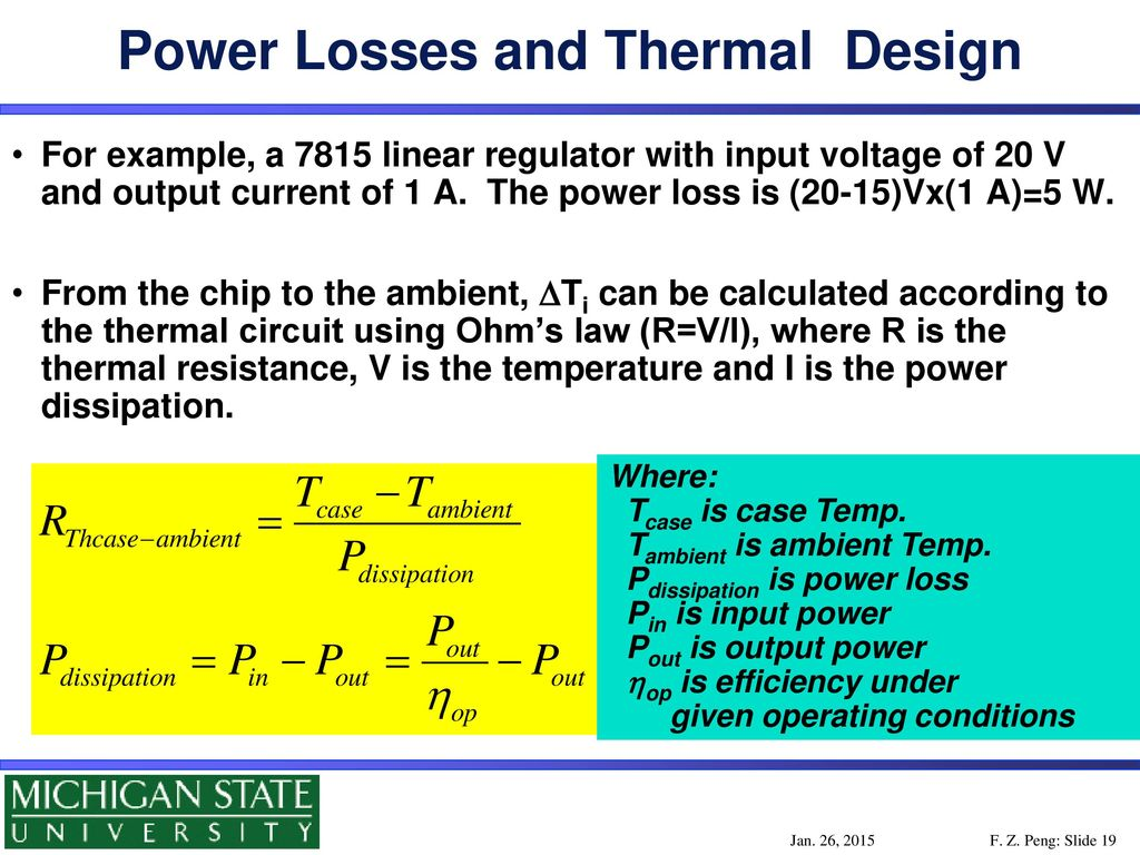Dept Of Electrical And Computer Engineering Michigan State Power Loss Comparison With The Linear Regulator Losses Thermal Design