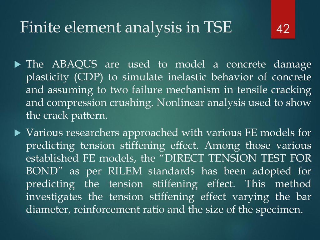 NONLINEAR FEA TO PREDICT TENSION STIFFENING EFFECT IN REINFORCED