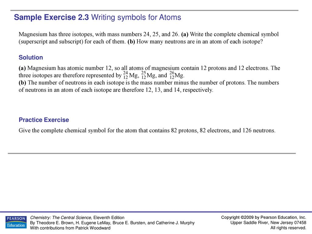 Sample Exercise 2 2 Determining the Number of Subatomic Particles in