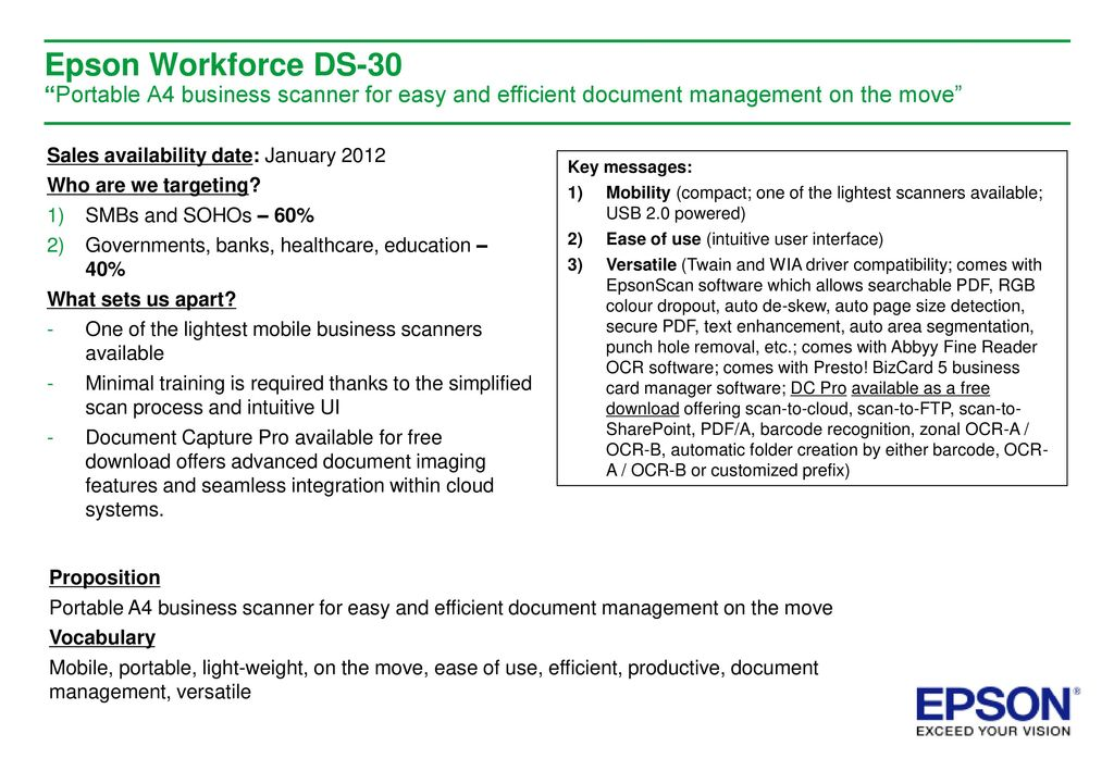 Business Scanner Proposition Epson Workforce Ds Ppt Download