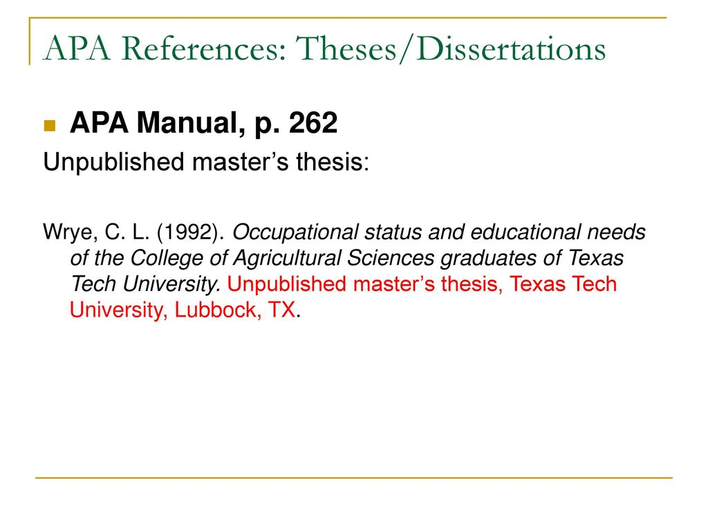 Alec 681 Seminar Apa Style Reference Ppt Download Referencing Unpublished Dissertation
