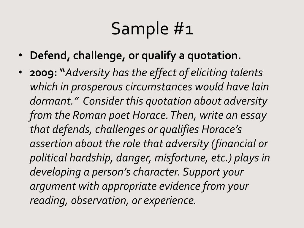 do now adversity has the effect of eliciting talents which in   sample