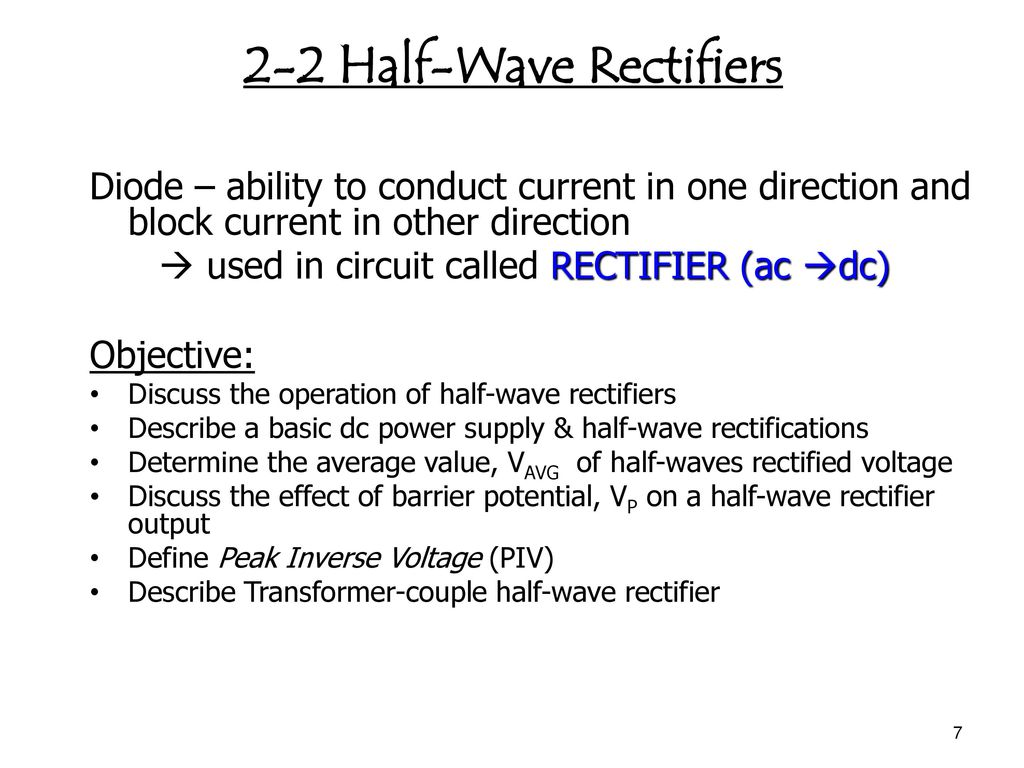 Chapter 1 Diode Applications Ppt Download Linear Acdc Power Supply With Transformer Rectifier Smoother And 2 Half Wave Rectifiers