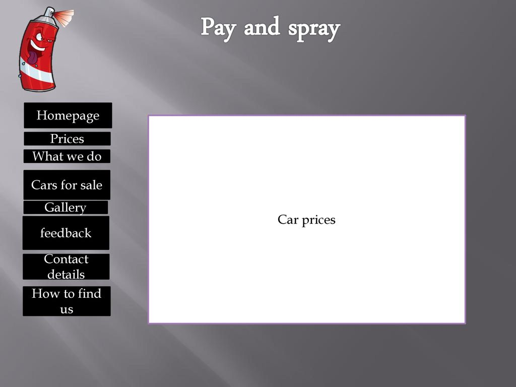 Pay and spray Homepage Prices What we do Car prices Cars for sale