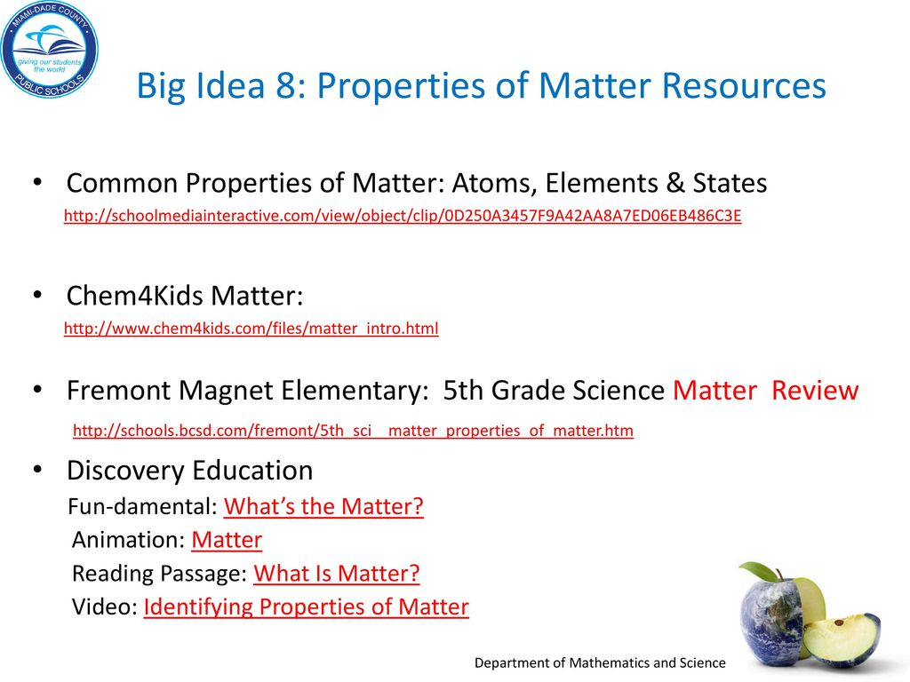 Big Idea 8 Properties Of Matter Resources