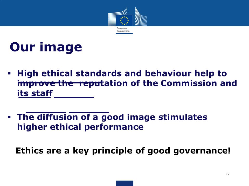 Ethics are a key principle of good governance!