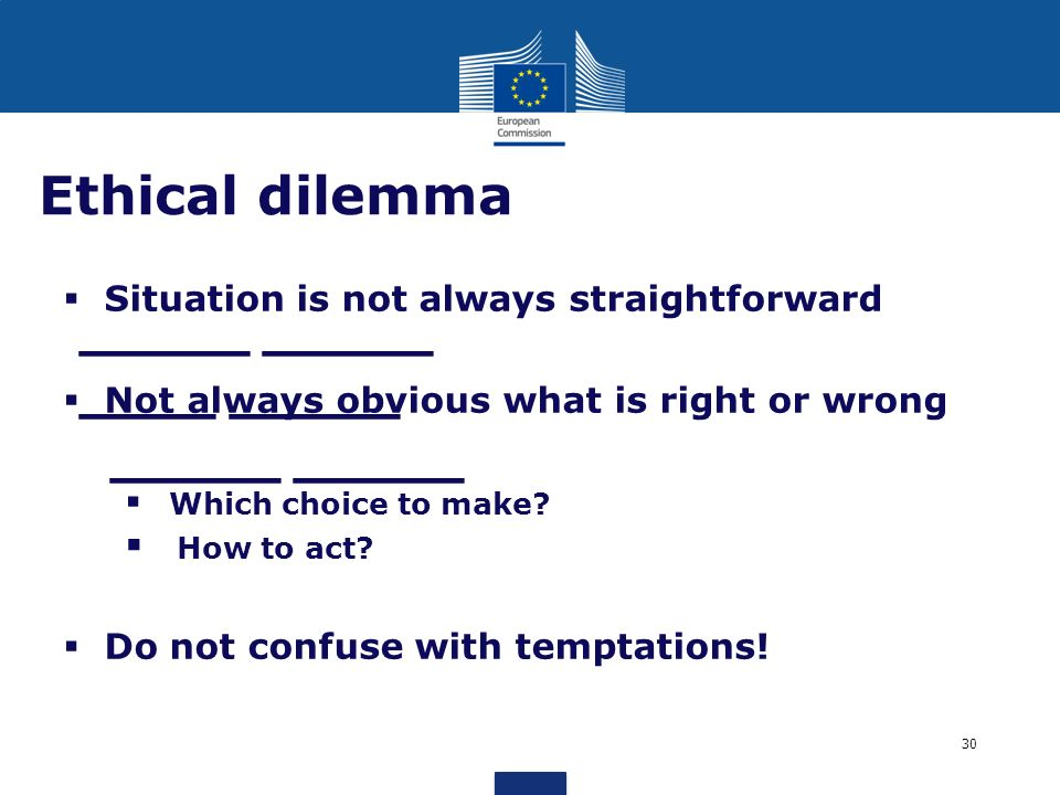 Ethical dilemma Situation is not always straightforward