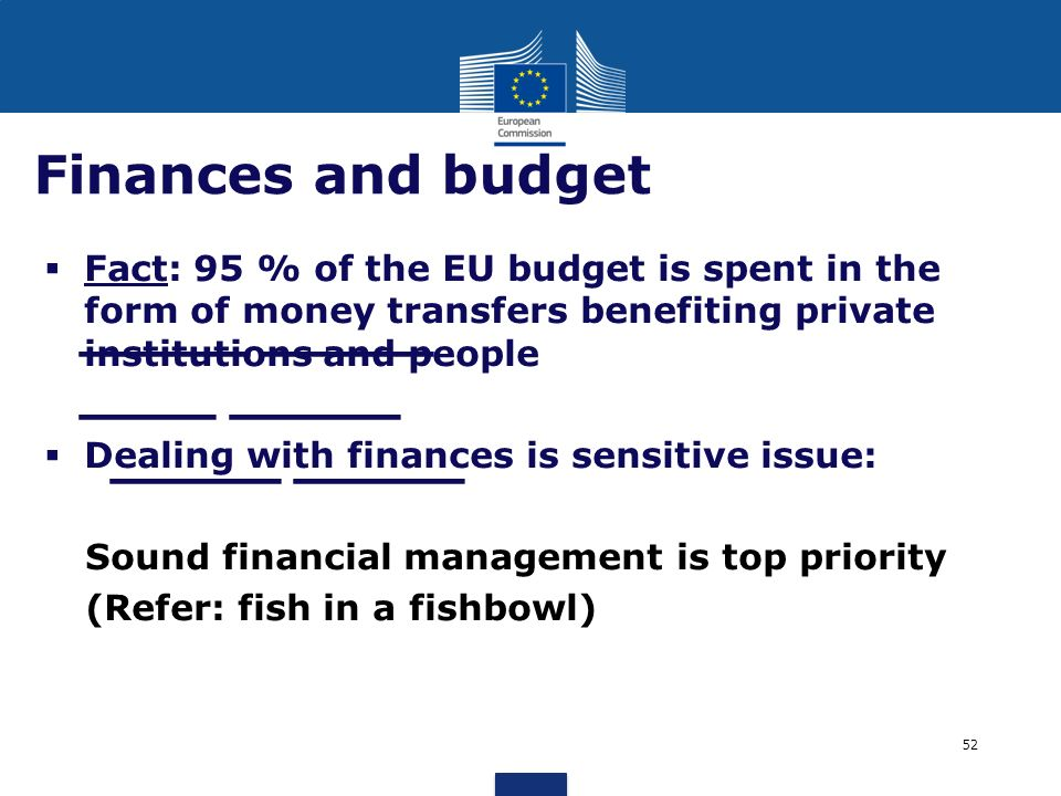 Finances and budget Fact: 95 % of the EU budget is spent in the form of money transfers benefiting private institutions and people.