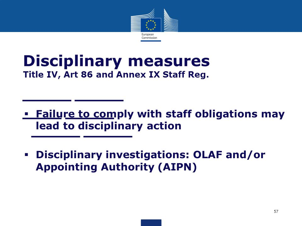 Disciplinary measures Title IV, Art 86 and Annex IX Staff Reg.