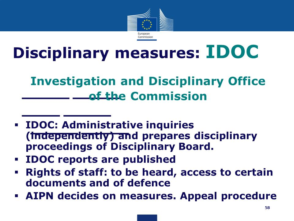Disciplinary measures: IDOC