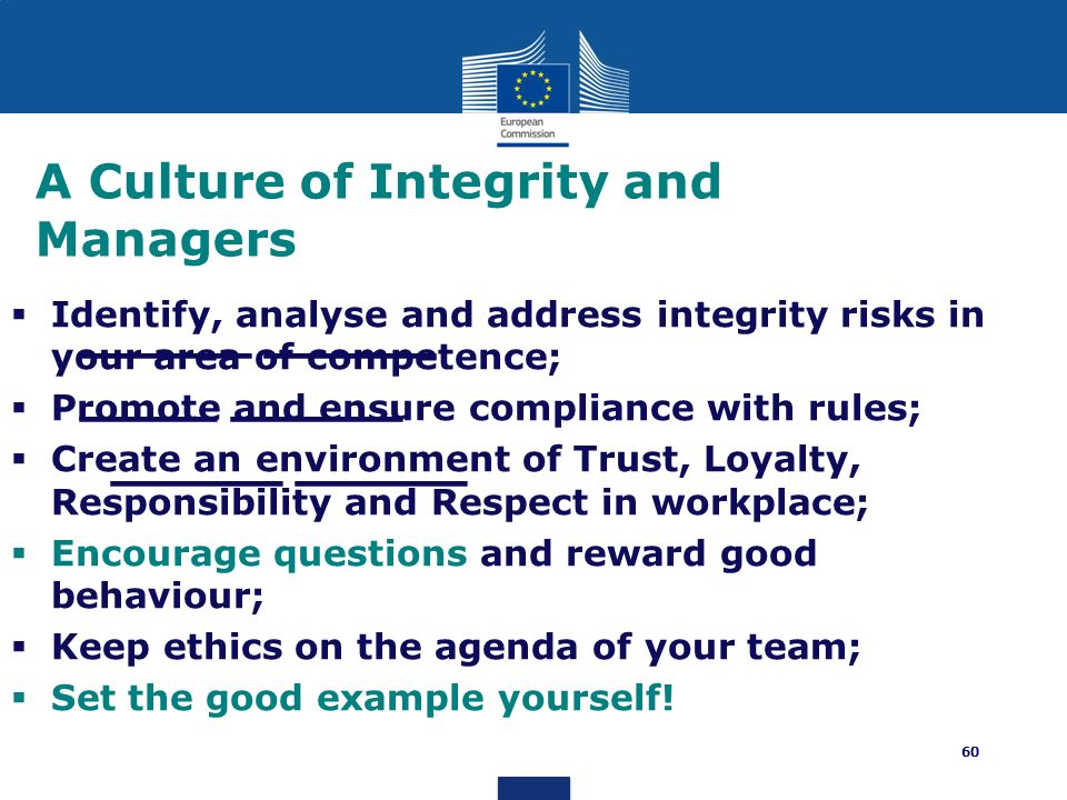 A Culture of Integrity and Managers
