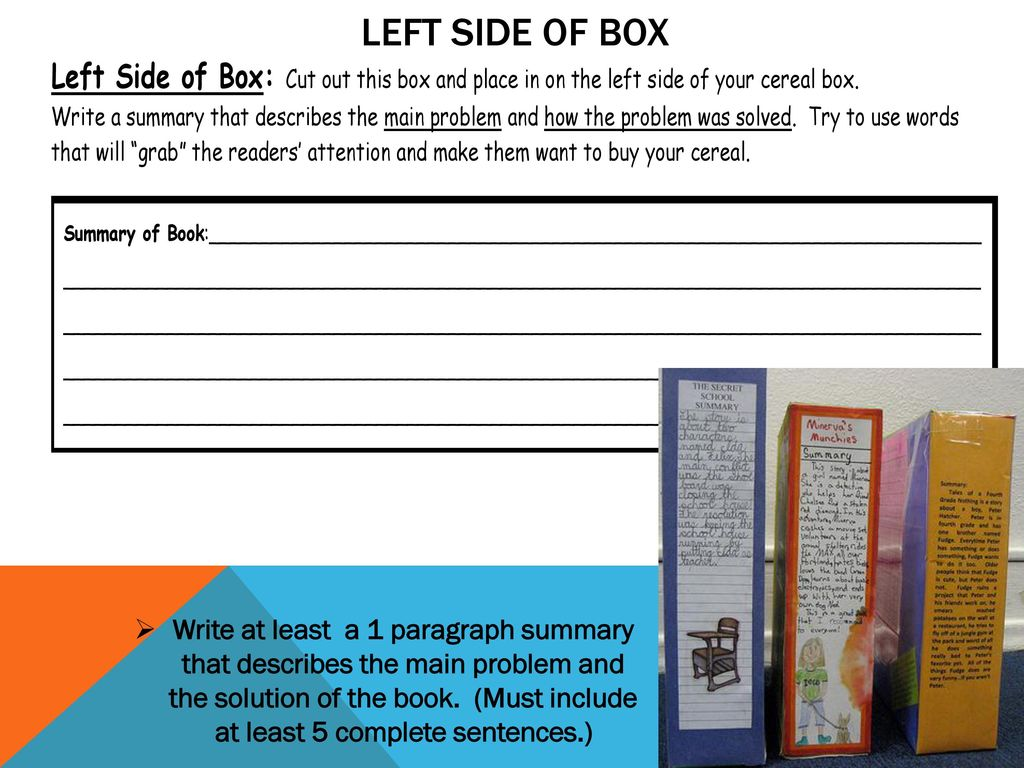 Cereal box book report ppt download left side of box ccuart Gallery