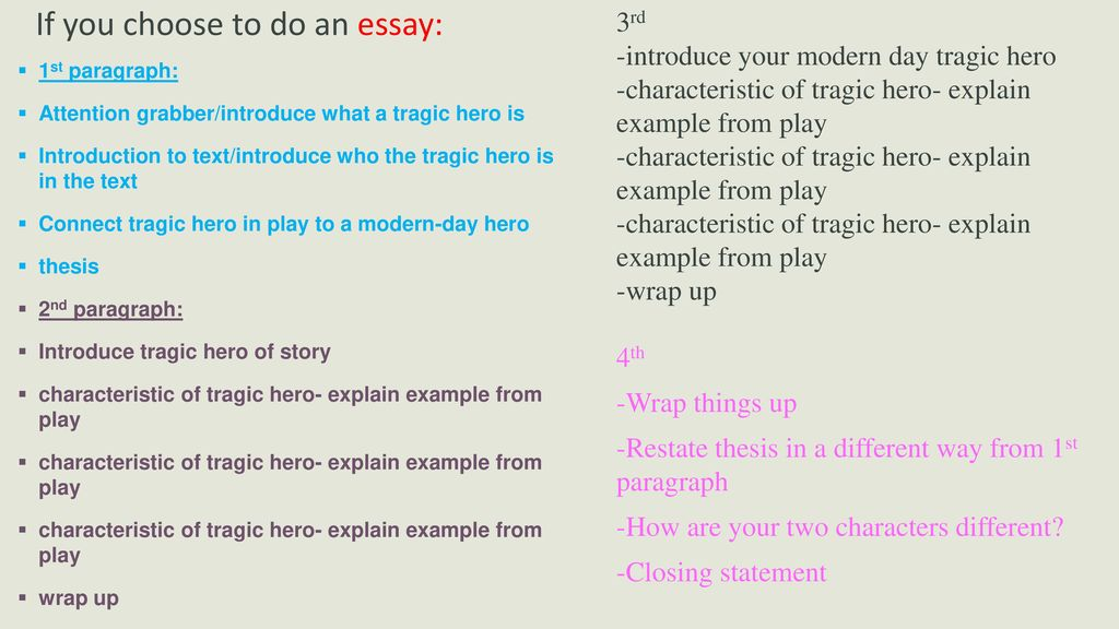 tragic heromodern day tragic hero assignment   ppt download if you choose to do an essay