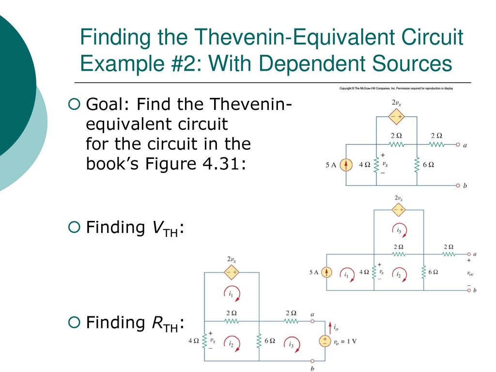 Egr 2201 Unit 6 Theorems Thevenins Nortons Maximum Power Circuit Example Solved Problems Based On Thevenin Theorem Finding The Equivalent 2 With Dependent Sources