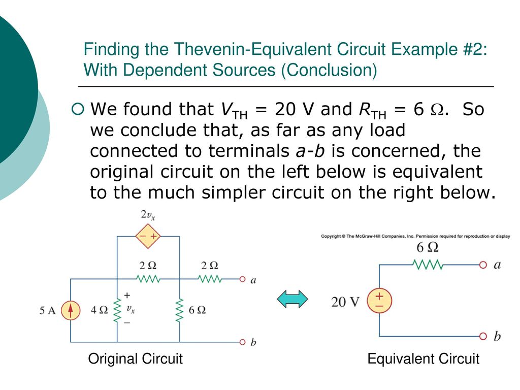 Egr 2201 Unit 6 Theorems Thevenins Nortons Maximum Power Circuit Example Solved Problems Based On Thevenin Theorem Finding The Equivalent 2 With Dependent Sources Conclusion