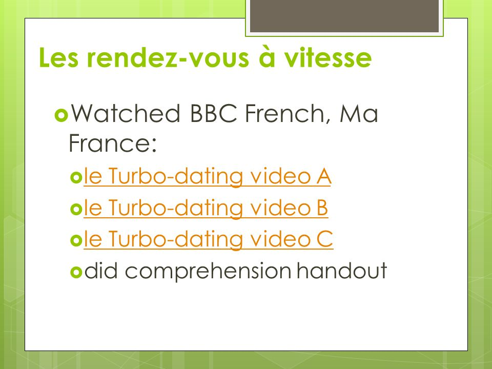 Le turbo dating