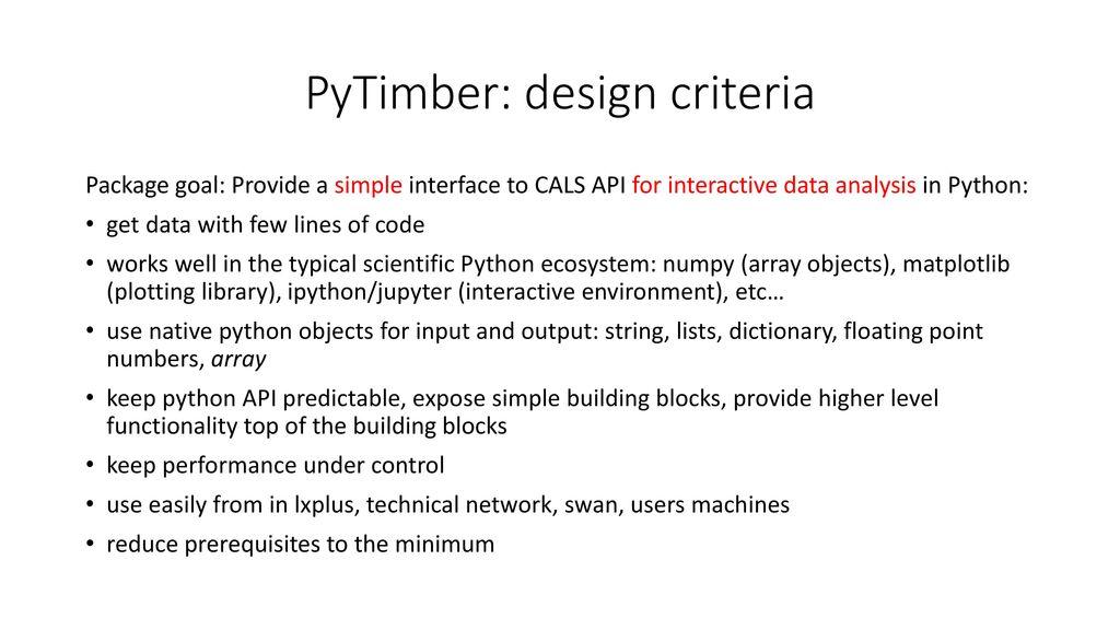 PyTimber & CO M  Betz, R  De Maria, M  Fitterer, C  Hernalsteens, T