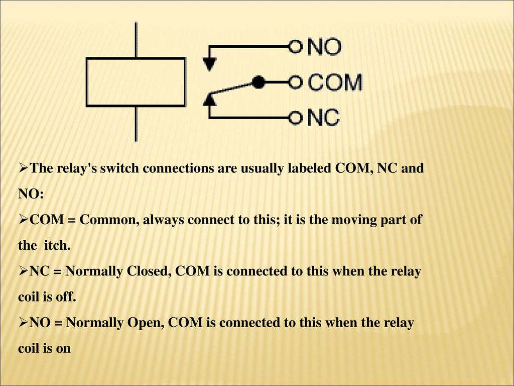 Under The Guidance Of Submitted By Project Title Ppt Download Relay Circuit Using Bc547 S Switch Connections Are Usually Labeled Com Nc And No
