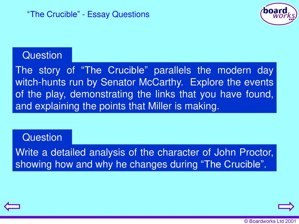 Example Of A Good Thesis Statement For An Essay The Crucible  Essay Questions What Is The Thesis Of A Research Essay also Sample High School Essay Key Stage  Literature The Crucible  Ppt Download Federalism Essay Paper