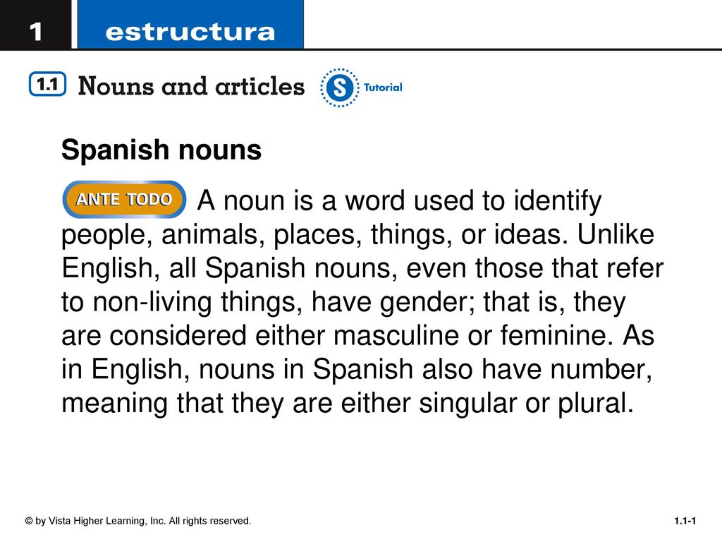 Spanish nouns A noun is a word used to identify people
