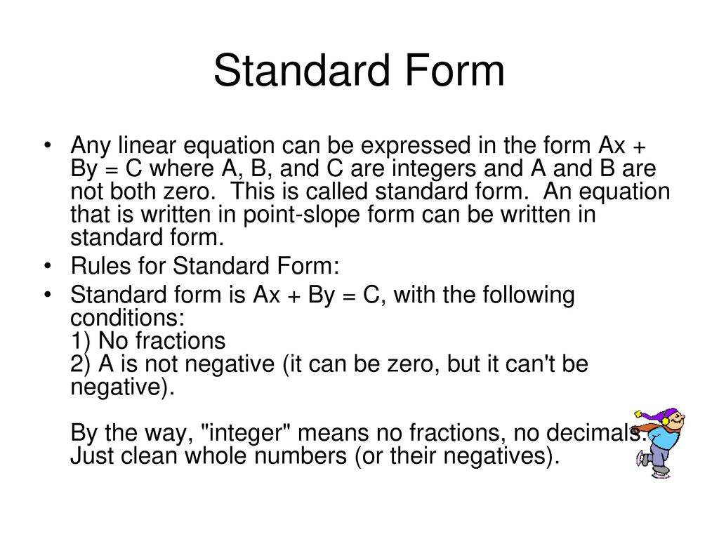 point slope form rules  Point-Slope and Standard forms of Linear Equations - ppt ...