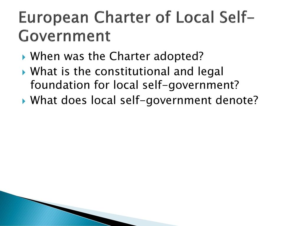 European Charter of Local Self-Government: Basic Principles 40