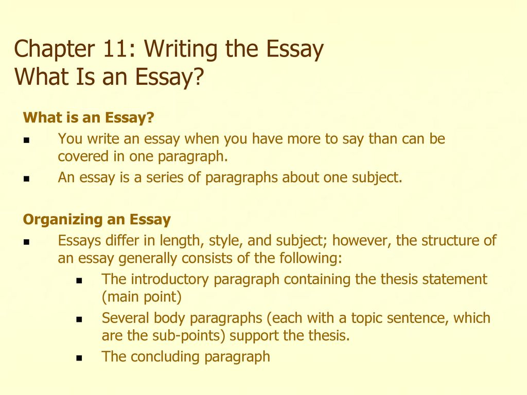 Chapter 11 writing the essay what is an essay ppt download
