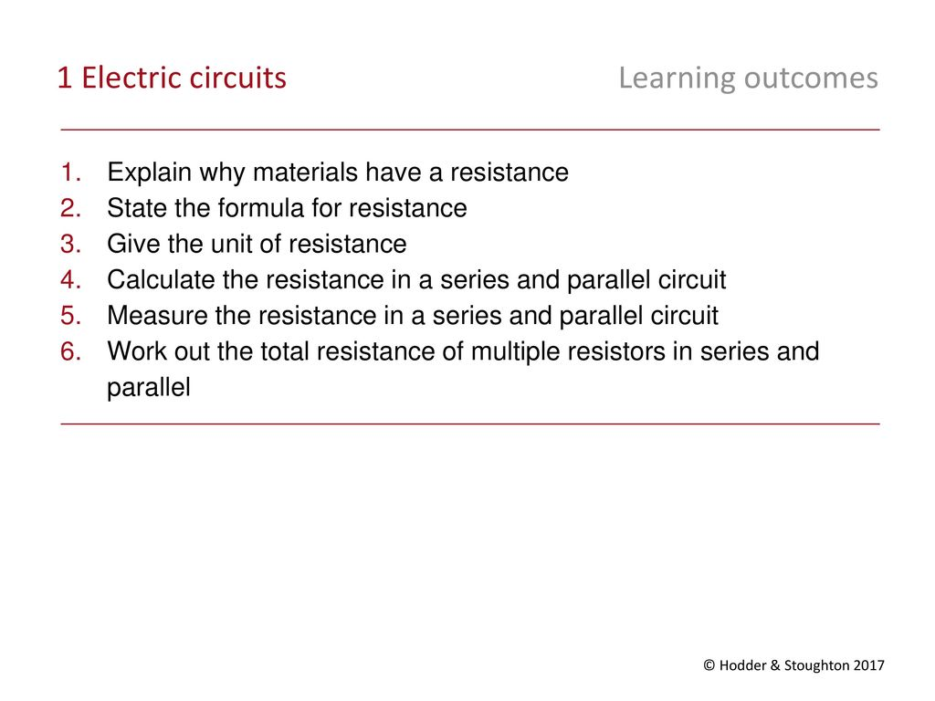 Unit 1 Electricity Energy And Waves Ppt Download Circuits Together With Series Circuit Formula On Parallel Electric Learning Outcomes