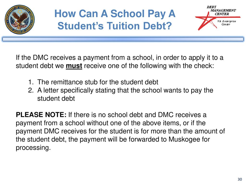 how can a school pay a students tuition debt