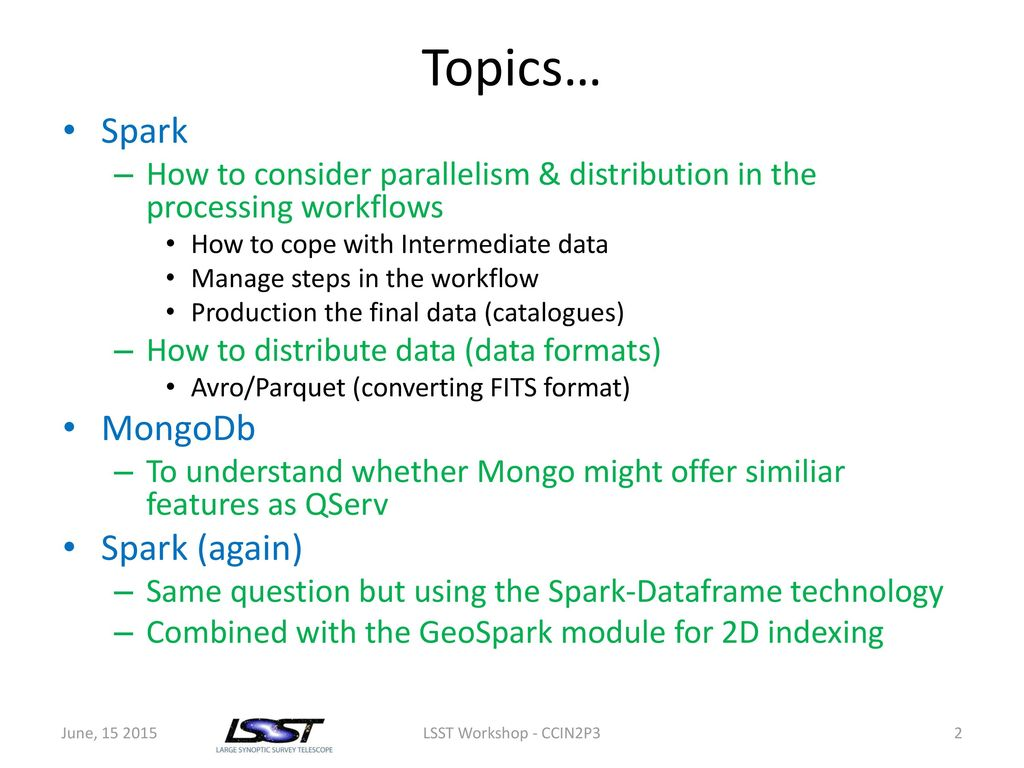 Spark & MongoDb for LSST - ppt download