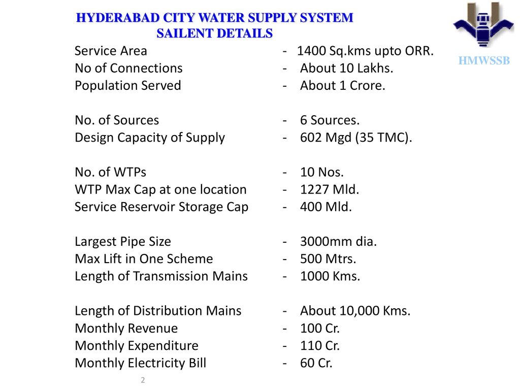 Hyderabad city water supply system - ppt download