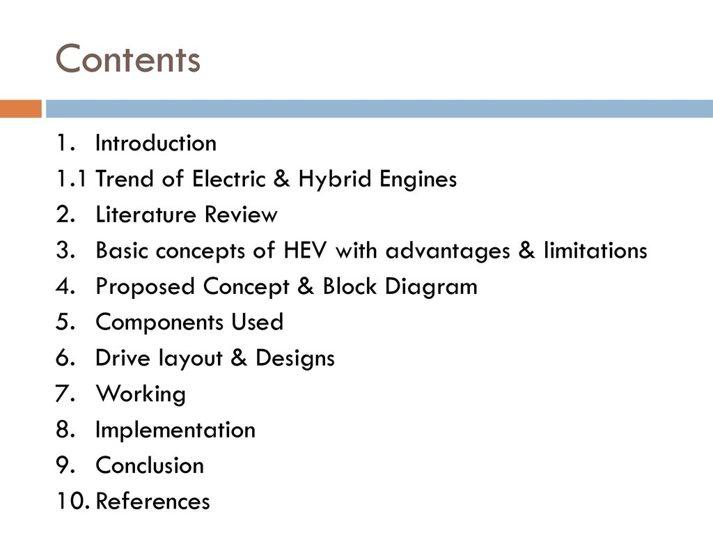 Design Of A Power Assisting System To An Internal Combustion Engine Block Diagram Contents