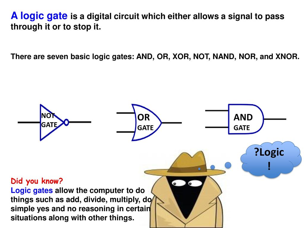 Logic Gates Lesson Objectives George Boole Ppt Download Digital Circuit Using A Gate Is Which Either Allows Signal To Pass Through It