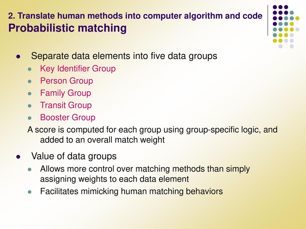 data matching algorithm