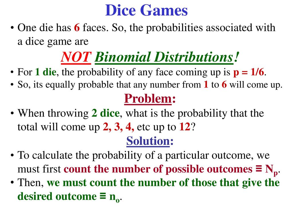 Dice Games & Probabilities - ppt download