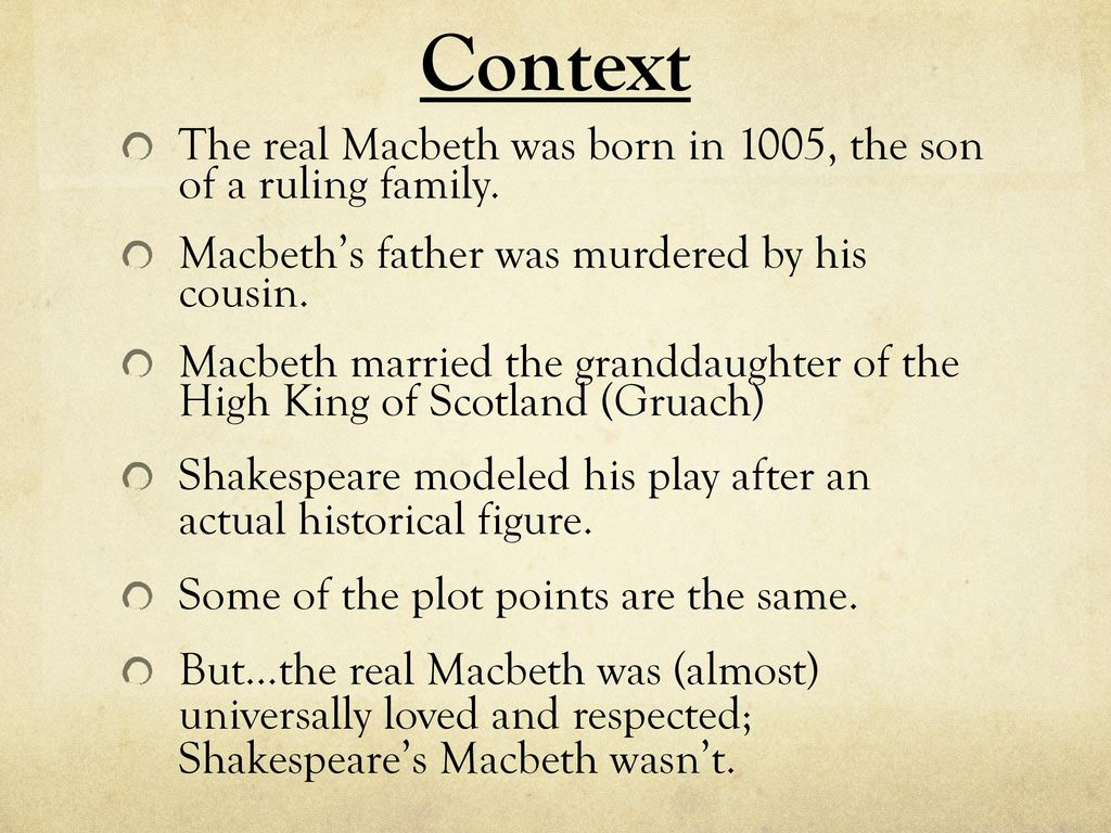 what is the context of macbeth