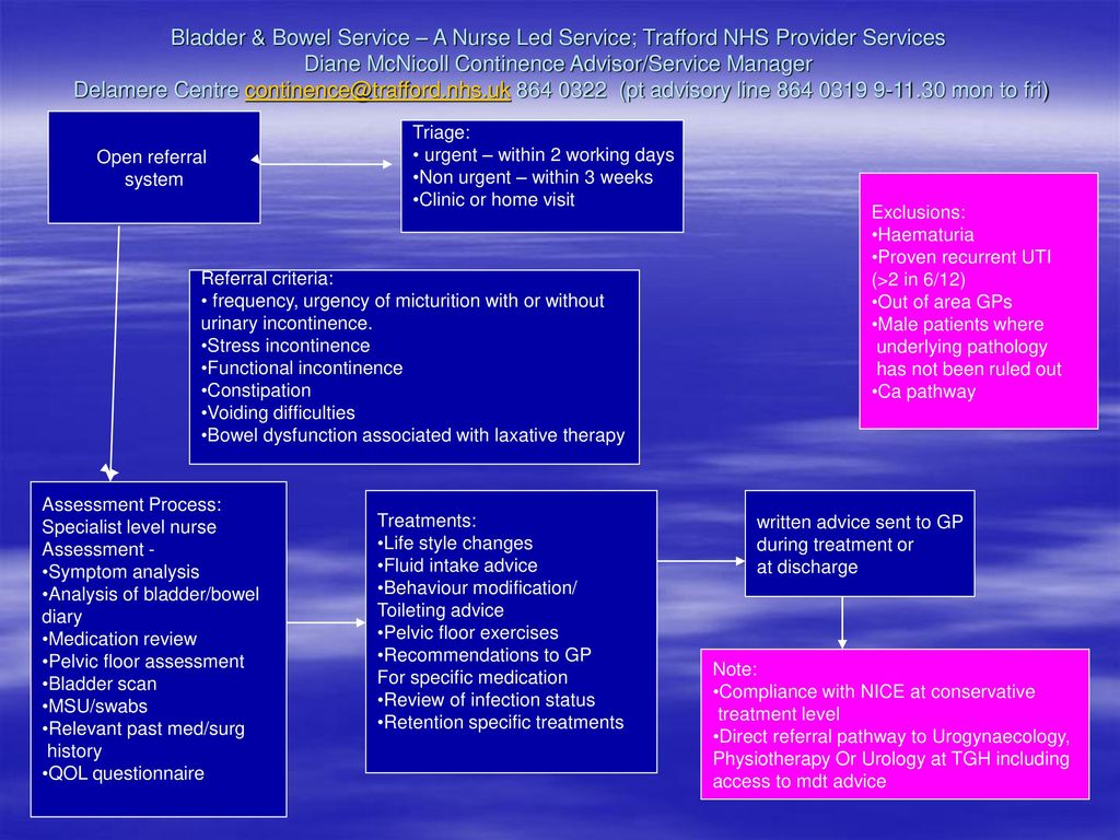 Bladder & Bowel Service – A Nurse Led Service