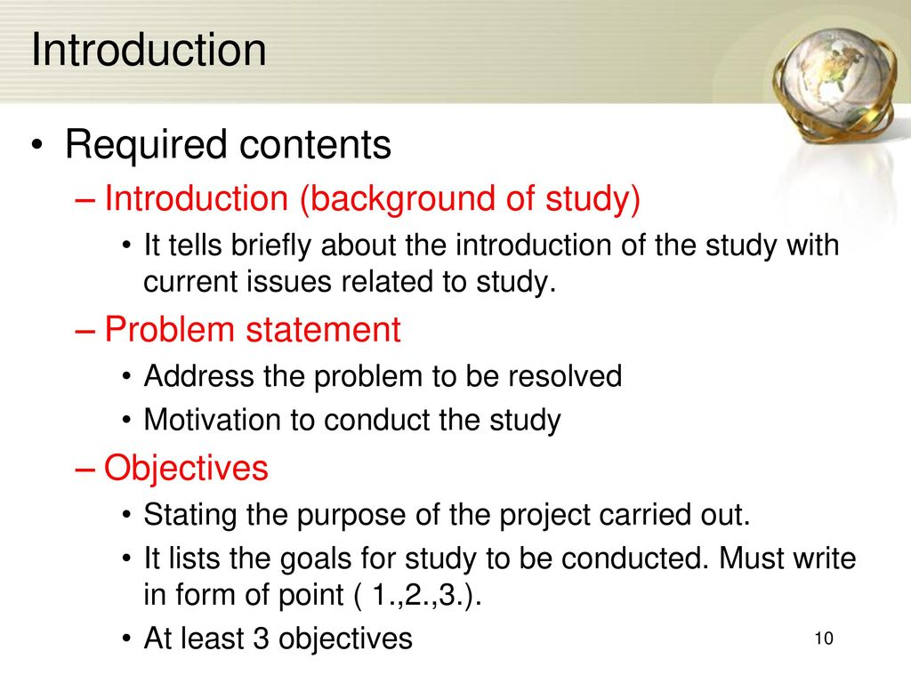 how to write background of the study