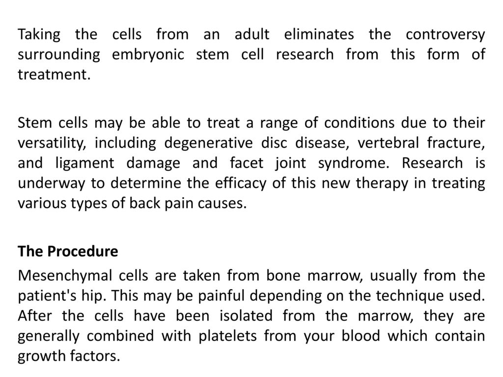 New Advance in Back Pain Treatment: Stem Cell Therapy - ppt