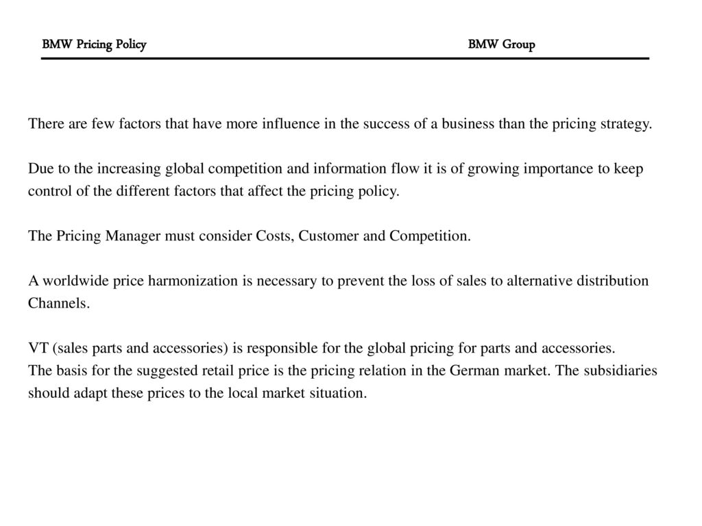 Bmw Group Pricing Policy 2 There