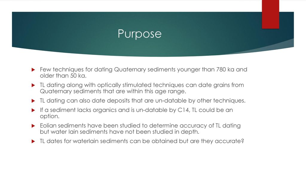 Dating quaternary sediments